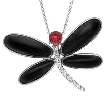 18ct White Gold Whitby Jet Diamond Rubellite Dragonfly Necklace, P1332