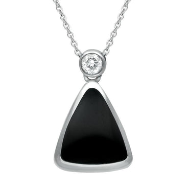 18ct White Gold Whitby Jet Diamond Curved Triangle Necklace, P892C