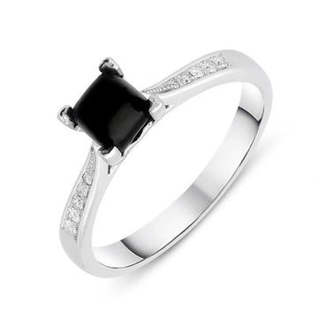 18ct White Gold Whitby Jet Diamond Cushion Shaped Ring, R1150.