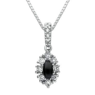 18ct White Gold Whitby Jet Diamond Faceted Marquise Necklace P1553C