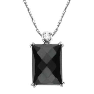 18ct White Gold Whitby Jet Diamond Faceted Oblong Necklace, PUNQ0000122