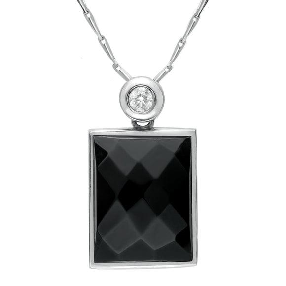 18ct White Gold Whitby Jet Diamond Faceted Oblong Necklace, SH4_6