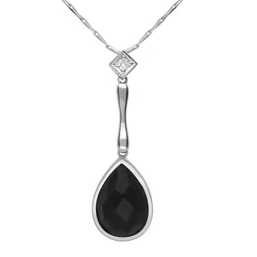 18ct White Gold Whitby Jet Diamond Faceted Pear Necklace, JD5_6