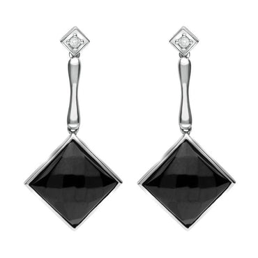 18ct White Gold Whitby Jet Diamond Faceted Square Earrings, JD1_7