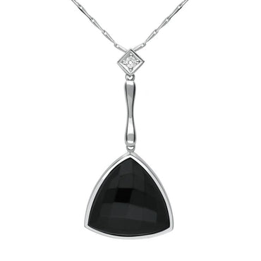 18ct White Gold Whitby Jet Diamond Faceted Triangle Necklace, JD5_1