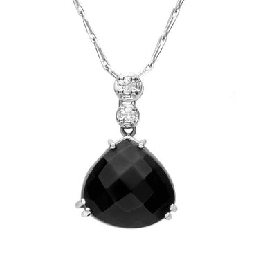 18ct White Gold Whitby Jet Diamond Faceted Triangle Necklace SH2JET_DI