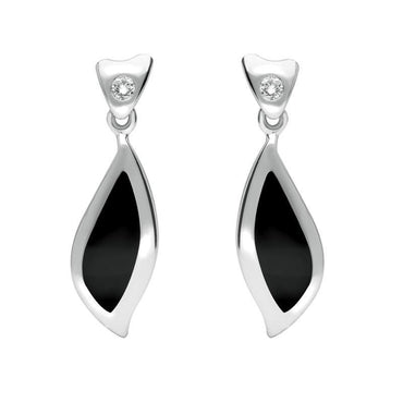 18ct White Gold Whitby Jet Diamond Leaf Shape Earrings, E740