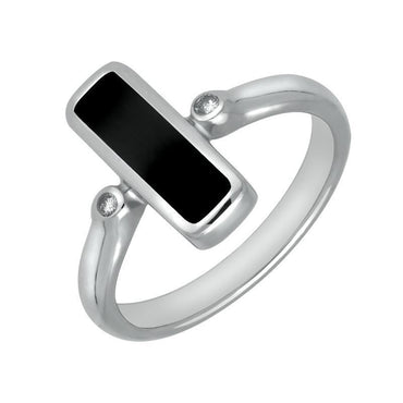 18ct White Gold Whitby Jet Diamond Oblong Ring R403