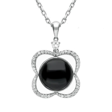 18ct White Gold Whitby Jet Diamond Open Flower Necklace, P1331