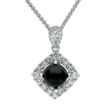 18ct White Gold Whitby Jet Diamond Open Square Necklace P3178C