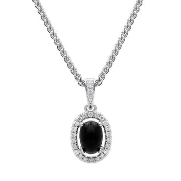 18ct White Gold Whitby Jet Diamond Oval Cluster Necklace, P3324.