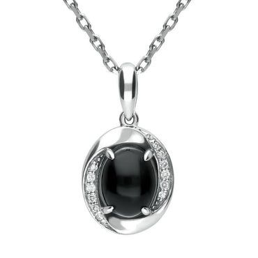 18ct White Gold Whitby Jet Diamond Oval Pave Set Necklace P1841