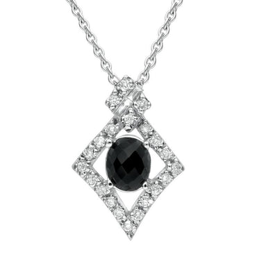18ct White Gold Whitby Jet Diamond Pave Set Faceted Necklace, P1535