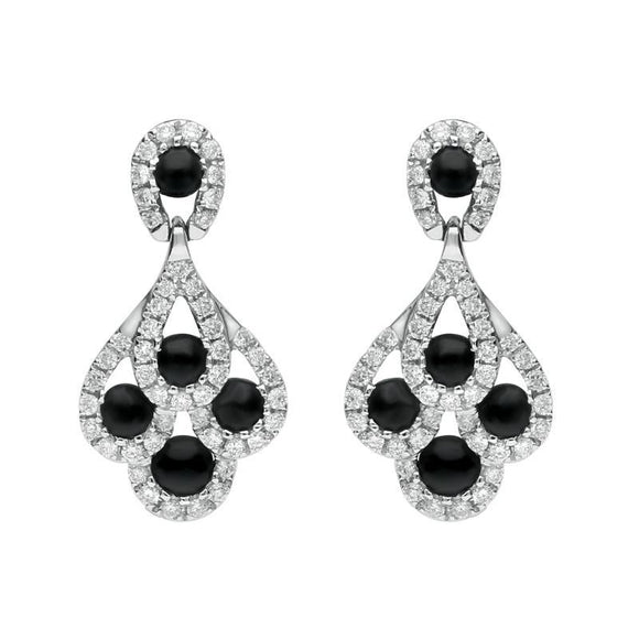 18ct White Gold Whitby Jet Diamond Peacock Drop Earrings 00112896