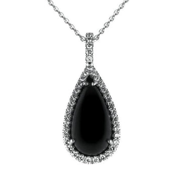 18ct White Gold Diamond and Whitby Jet Pear Necklace