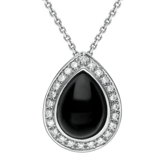 18ct White Gold Whitby Jet 0.21ct Diamond Pear Pave Necklace P1795C