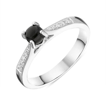 18ct White Gold Whitby Jet Diamond Round Centre Stone Ring R1188