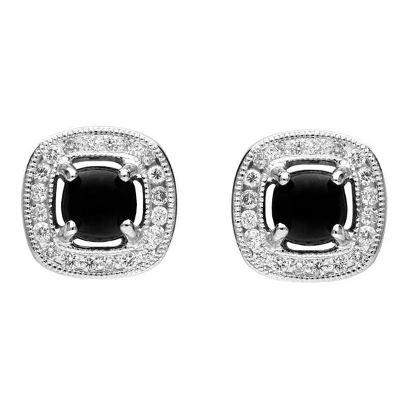 18ct White Gold Whitby Jet and Diamond Stud Earrings E2254