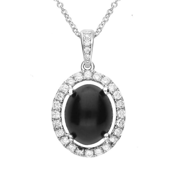 18ct White Gold Whitby Jet 0.28ct Diamond Oval Claw Set Necklace P2998