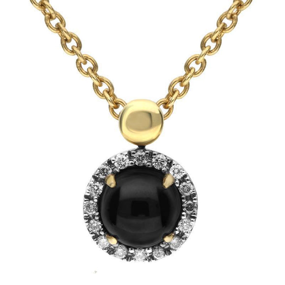 18ct Yellow Gold Whitby Jet and Diamond Small Round Claw Set Necklace P2195