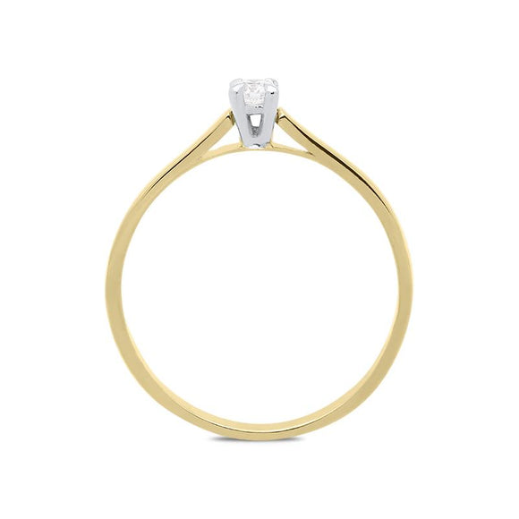 18ct Yellow Gold 0.11ct Brilliant Cut Diamond Solitaire Ring BLC-092