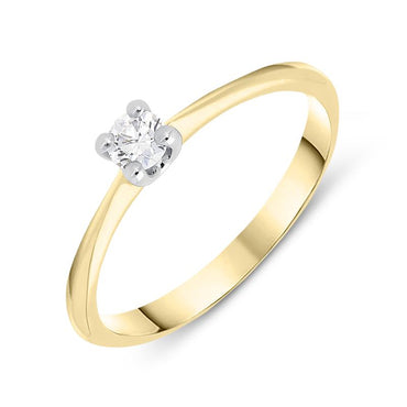 18ct Yellow Gold 0.15ct Brilliant Cut Diamond Solitaire Ring