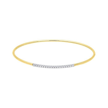 18ct Yellow Gold 0.18ct Diamond Bangle BLC-103