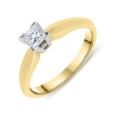 18ct Yellow Gold 0.23ct Diamond Princess Cut Solitaire Ring ATD-081