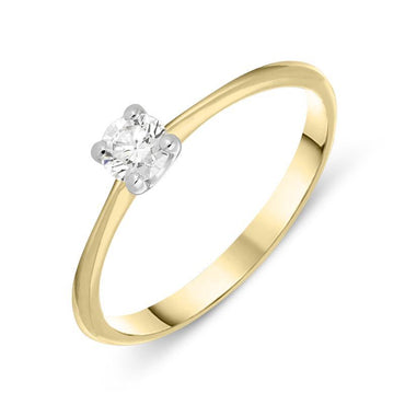 18ct Yellow Gold 0.25ct Diamond Brilliant Cut Solitaire Ring BLC-027