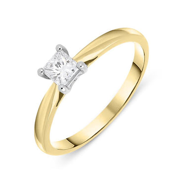18ct Yellow Gold 0.32ct Diamond Princess Cut Solitaire Ring FEU-757