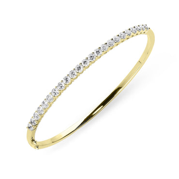 18ct Yellow Gold 2.02ct Diamond Hinged Bangle B1119