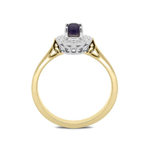 18ct Yellow Gold Blue John 0.16ct Diamond Milgrain Cluster Ring, R1148.