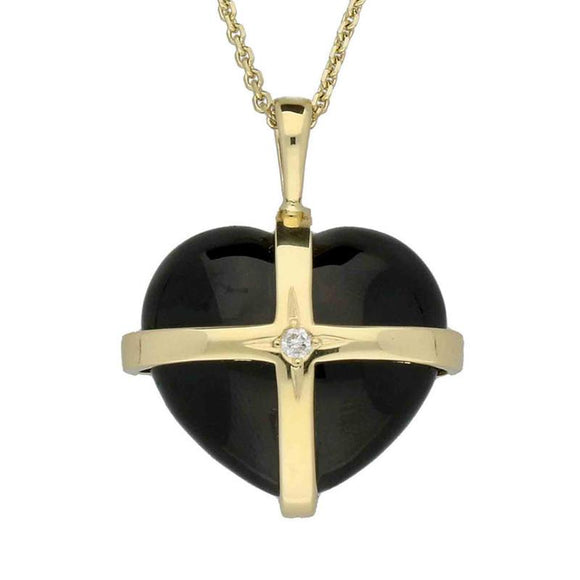 18ct Yellow Gold Whitby Jet 0.03ct Diamond Size M Cross Heart Necklace P2653