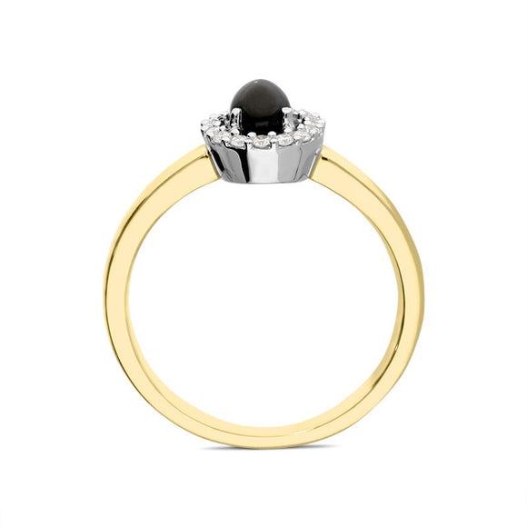 18ct Yellow Gold Whitby Jet 0.12ct Diamond Cluster Ring R883