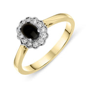 18ct Yellow Gold Whitby Jet 0.16ct Diamond Milgrain Cluster Ring, R1148.
