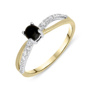 18ct Yellow Gold Whitby Jet 0.16ct Diamond Split Shoulder Ring, R1147.