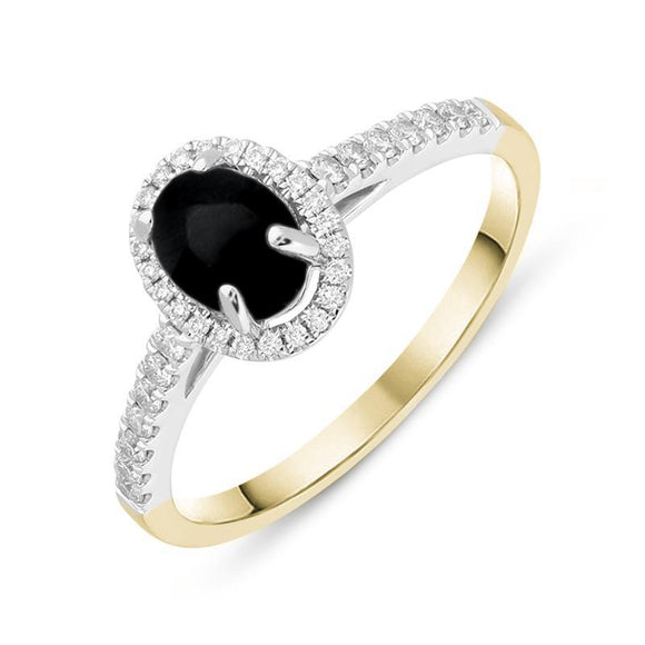 18ct Yellow Gold Whitby Jet 0.24ct Diamond Oval Ring. R1109.
