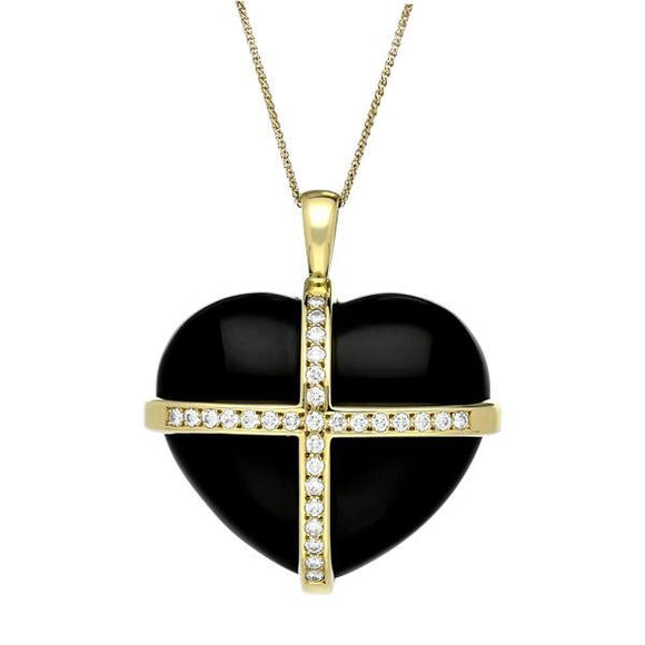 18ct Yellow Gold Whitby Jet 1.00ct Diamond Large Cross Heart Necklace, PUNQ0002794.