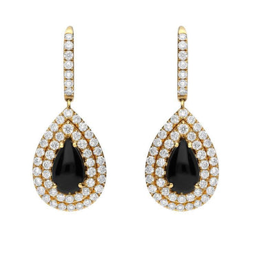 18ct Yellow Gold Whitby Jet Diamond Pear Drop Earrings, 511_3191_98_7