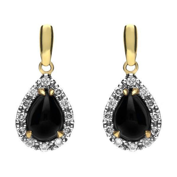 18ct Yellow Gold Whitby Jet Diamond Pear Drop Earrings, E1678.