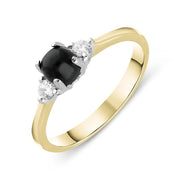 18ct Yellow Gold Whitby Jet Diamond Round Claw Set Ring. R1113.
