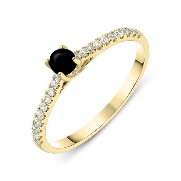 18ct Yellow Gold Whitby Jet Diamond Round Solitaire Ring R1093.