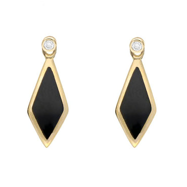 18ct Yellow Gold Whitby Jet and Diamond Dinky Drop Earrings, E647