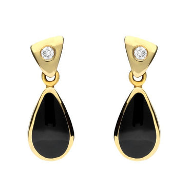 18ct Yellow Gold Whitby Jet 0.06ct Diamond Dinky Pear Drop Earrings E672