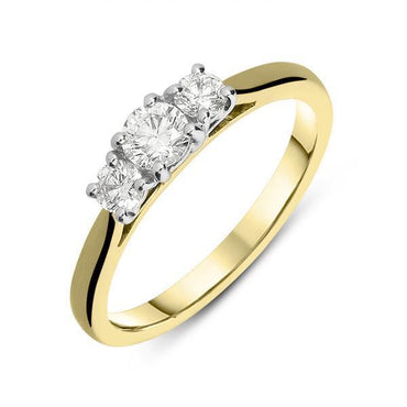 18ct Yellow Gold 0.50ct Diamond Trilogy Ring, FEU-545.