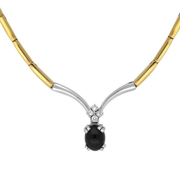 18ct Yellow White Gold Whitby Jet and Diamond Five Stone Necklace N353B