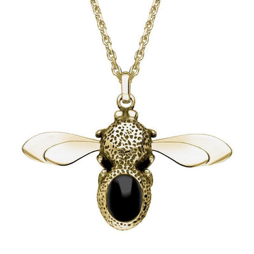 9ct Yellow Gold Whitby Jet Stone Set Body Bee Necklace P3523