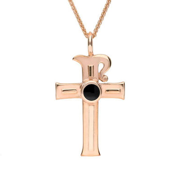 9ct Rose Gold Whitby Jet Celtic Cross Necklace P196