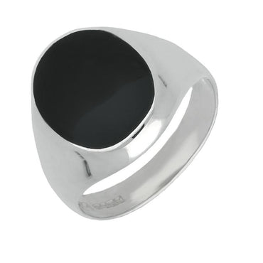9ct White Gold Whitby Jet Large Oval Signet Ring R190