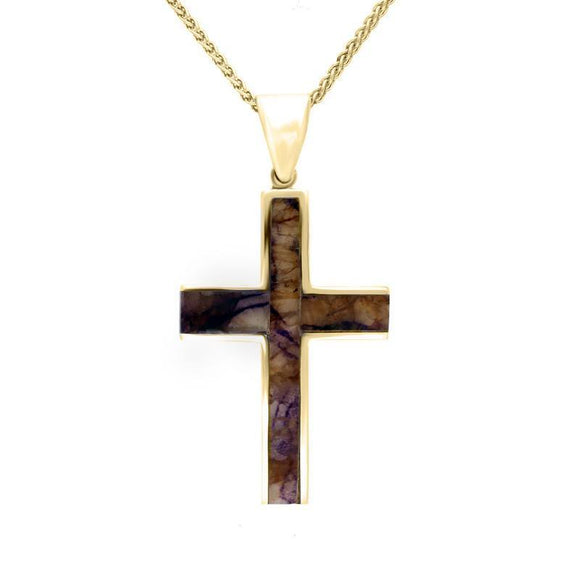 00031634 9ct Yellow Gold Blue John Medium Cross Necklace, P535.